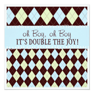 Oh Boy It's Twins Argyle Baby Boys Twin Shower 13 Cm X 13 Cm Square Invitation Card