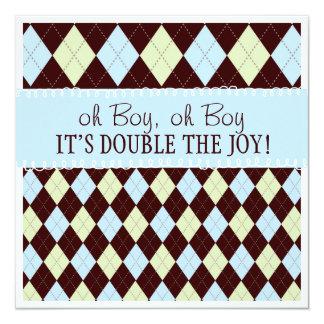 Oh Boy It's Twins Argyle Baby Boys Twin Shower 13 Cm X 13 Cm Square Invitation Card