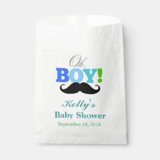 Oh Boy Mustache Baby Shower Favor Bag
