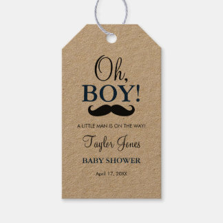 Oh Boy Mustache Baby Shower Favor Gift Tag