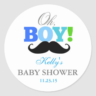 Oh Boy Mustache Baby Shower Party Favor Labels Round Sticker