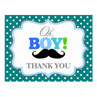 Oh Boy Mustache Baby Shower Thank You Postcard