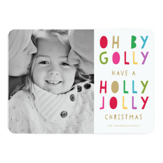 Oh by Golly   Holiday Photo Card 13 Cm X 18 Cm Invitation Card