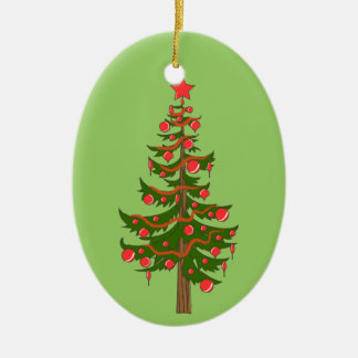 Oh, Christmas Tree Illustration on Green Ceramic Oval Decoration