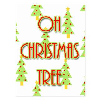 oh christmas tree mid century modern green red postcard
