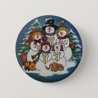 Oh Come Ye All Faithful Snowman Button Pin