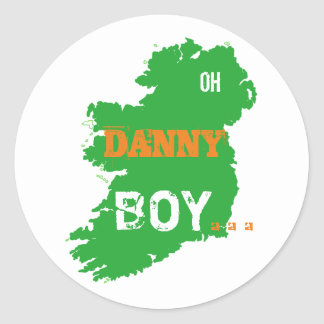 Oh Danny Boy St Paddys Day cool Eire Map Round Sticker