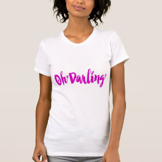 Oh Darling Cute Hot Pink Love Hearts Typography T-Shirt