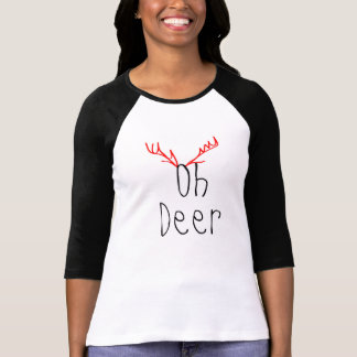 Oh Deer Christmas 3/4 sleeve Raglan T-shirt