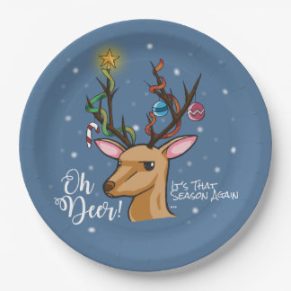 """""""Oh Deer"""" Christmas Decoration Paper Plate"""