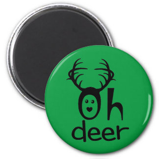 Oh Deer - Christmas Party Favours 6 Cm Round Magnet