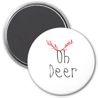 Oh Deer Christmas round magnet