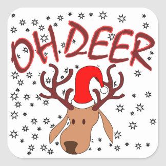 """Oh Deer"" design with deer stars for Christmas Square Sticker"