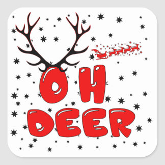 Oh Deer design with deer stars for Christmas Square Sticker