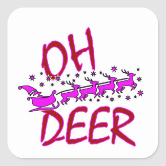 """Oh Deer"" design with santa for Christmas Square Sticker"