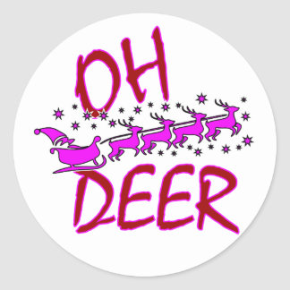 Oh Deer Stickers with santa for Christmas