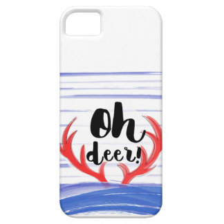 """""""Oh deer!"""" with deer's hornes and snow Case For The iPhone 5"""