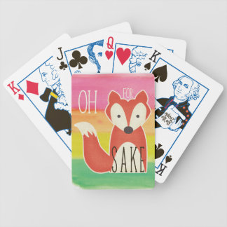 Oh For Fox Sake Watercolor Stripes Bicycle Playing Cards