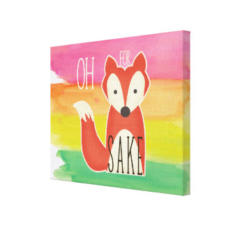 Oh For Fox Sake Watercolor Stripes Canvas Print