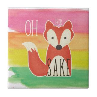 Oh For Fox Sake Watercolor Stripes Ceramic Tile