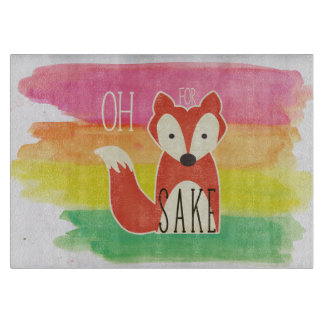 Oh For Fox Sake Watercolor Stripes Cutting Board