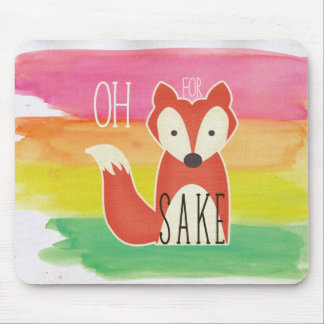 Oh For Fox Sake Watercolor Stripes Mouse Pad