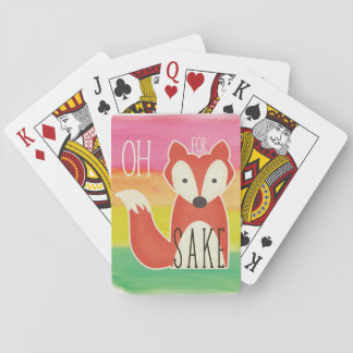 Oh For Fox Sake Watercolor Stripes Playing Cards