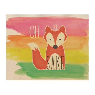 Oh For Fox Sake Watercolor Stripes Wood Prints