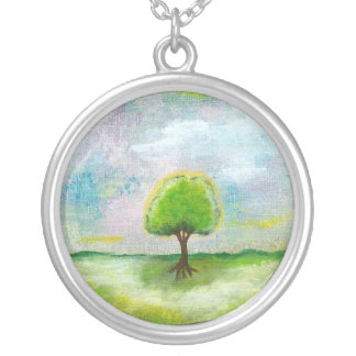 Oh Happy Day Round Pendant Necklace Painting