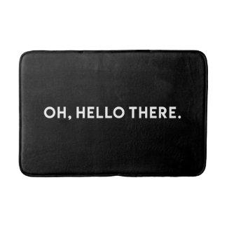 Oh Hello There Typography | Black Bath Mat Bath Mats