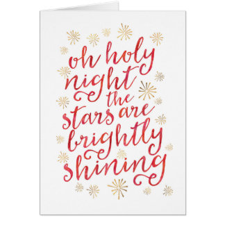 Oh Holy night gold and watercolor Christmas Card