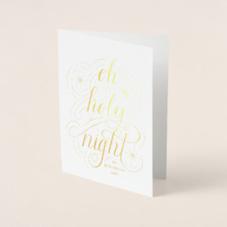 Oh Holy Night Hand Lettering Christmas Photo Foil Card