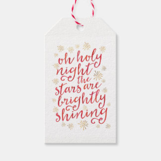 Oh Holy Night watercolor Christmas gift tags
