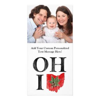OH IO Typographic Ohio Vintage Red Buckeye Nut Photo Card Template