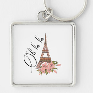 Oh La La | Eiffel Tower with Flowers Illustration Key Ring