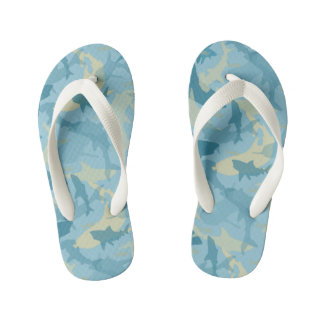 Oh My Sharks! Blue & Tan Shark Pattern Kid's Thongs