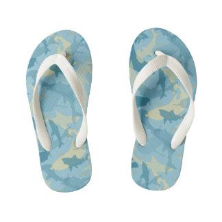 Oh My Sharks! Blue & Tan Sharks Pattern Kid's Thongs