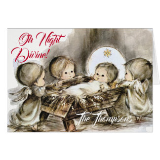 Oh Night Divine - Christmas Card - Manger-Angels