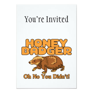 Oh No Honey Badger 13 Cm X 18 Cm Invitation Card