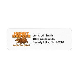 Oh No Honey Badger Return Address Label