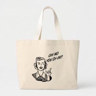 OH NO YOU DI-INT! Retro Housewife B&W Tote Bag