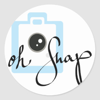 Oh Snap camera graphic Round Sticker