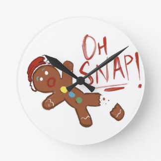 Oh Snap Gingerbread Man Round Clock
