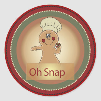 Oh Snap Gingerbread Man Round Sticker