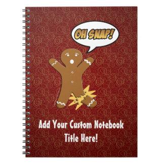 Oh Snap, Gingerbread Man with Broken Leg Spiral Notebook