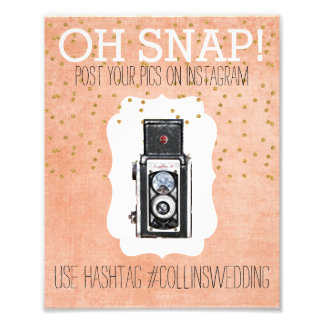 Oh Snap Instagram Coral Gold Hashtag Poster Photo Art