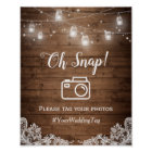 Oh Snap Instagram Hashtag Rustic Mason Jar Lights Poster