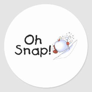 Oh Snap Snowball Classic Round Sticker