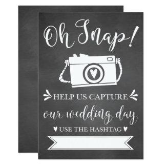Oh Snap Wedding Hashtag Sign Card