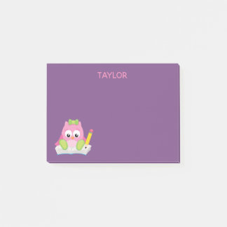Oh so cute pink owl post-it notes